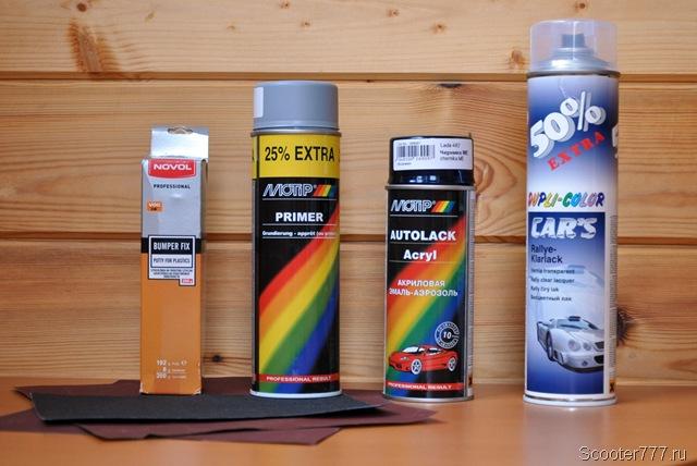 Предметы и материалы для ремонта окраски