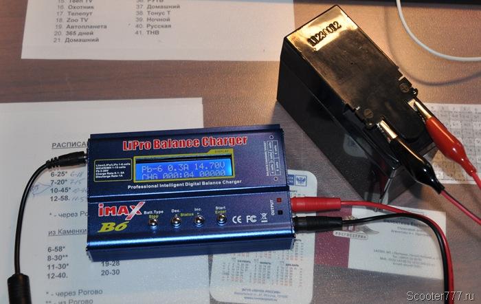 Зарядка аккумулятора скутера