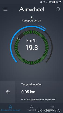 Скорость 19 км/ч