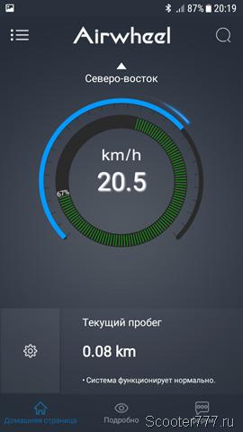 Скорость 20 км/ч