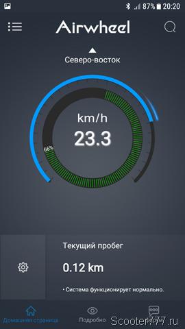 Скорость 23 км/ч