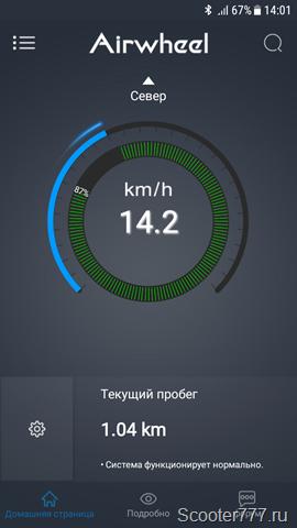 Скорость 14 км/ч
