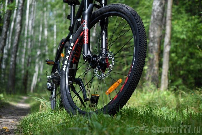 Переднее колесо в лесу